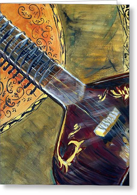 Greeting Card featuring the painting Sitar 1 by Amanda Dinan