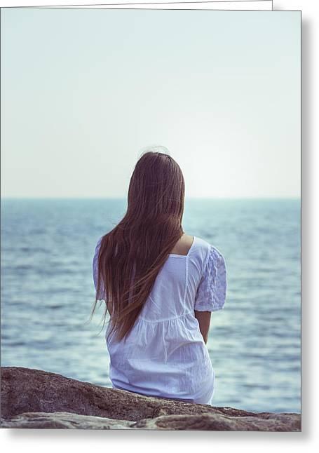 Sitting At The Sea Greeting Card