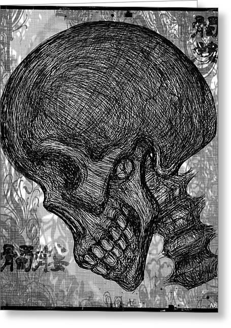 Gothic Skull Greeting Card by Akiko Okabe