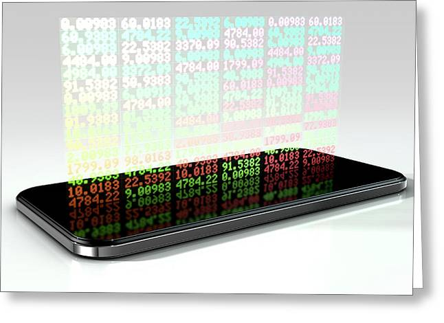 Smart Phone Stock App Greeting Card by Allan Swart