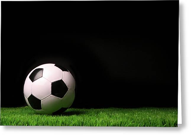 Soccer Ball On Grass Against Black Greeting Card