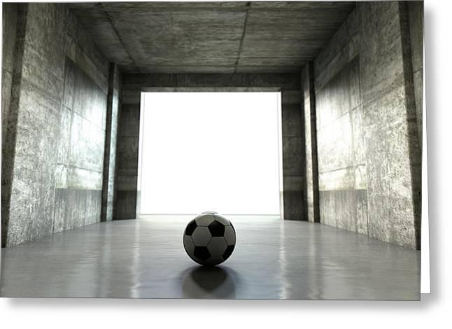 Soccer Ball Sports Stadium Tunnel Greeting Card by Allan Swart