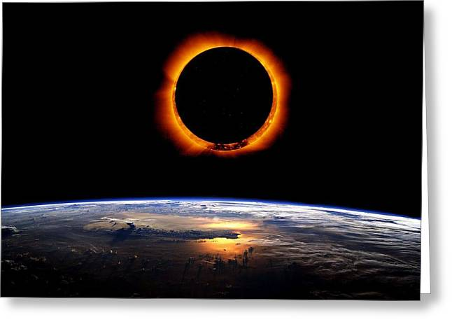 Solar Eclipse From Above The Earth Greeting Card