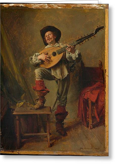 Soldier Playing The Theorbo Greeting Card