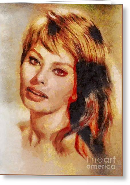 Sophia Loren, Vintage Hollywood Actress Greeting Card by Mary Bassett