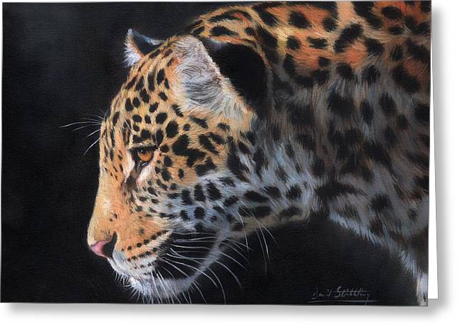Greeting Card featuring the painting South American Jaguar by David Stribbling