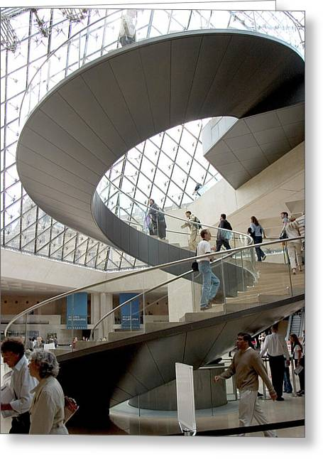 Spiral Staircase By I.m. Pei Greeting Card by Carl Purcell