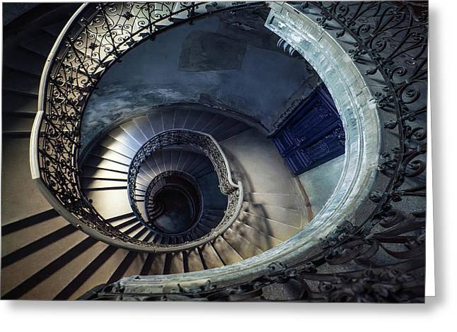 Greeting Card featuring the photograph Spiral Staircase With Ornamented Handrail by Jaroslaw Blaminsky