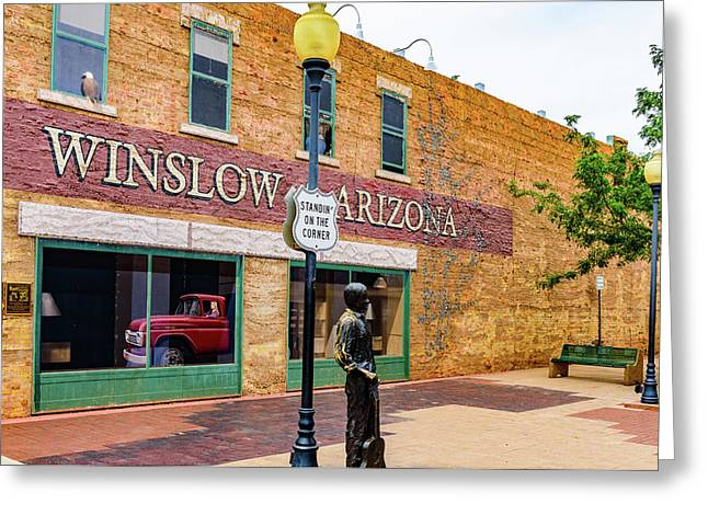 Standing On The Corner - Winslow Arizona Greeting Card by Jon Berghoff