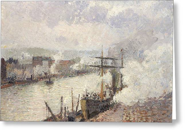 Steamboats In The Port Of Rouen Greeting Card by Camille Pissarro