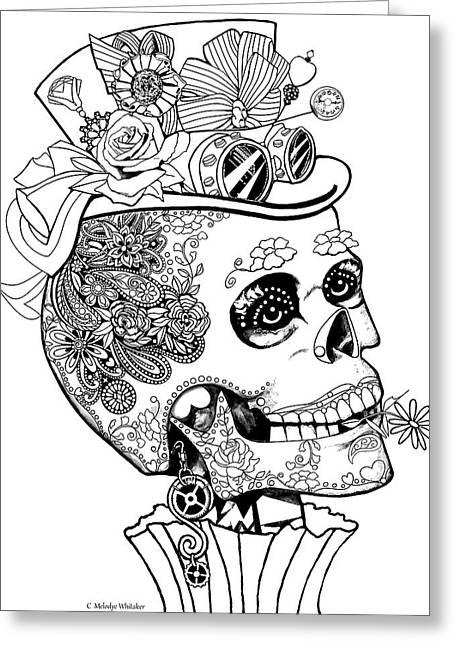 Steampunk Sugar Skull Greeting Card