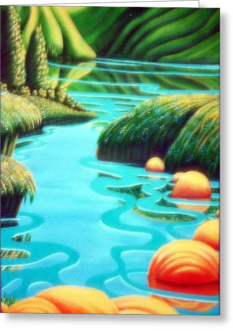 Stepping Stones Greeting Card by Barbara Stirrup
