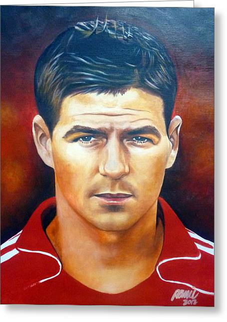 Steven Gerrard Painting Greeting Card by Ramil Roscom Guerra