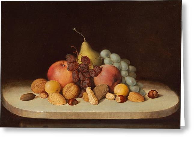 Still Life With Fruit And Nuts Greeting Card by Robert Seldon Duncanson