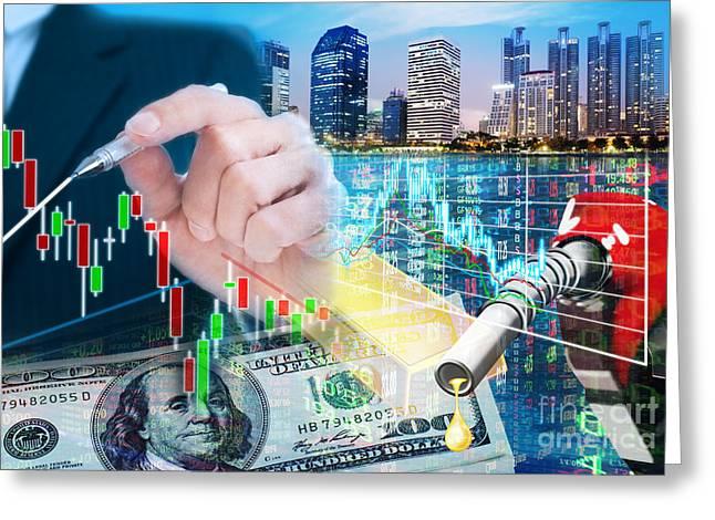Stock Market Concept Greeting Card by Setsiri Silapasuwanchai