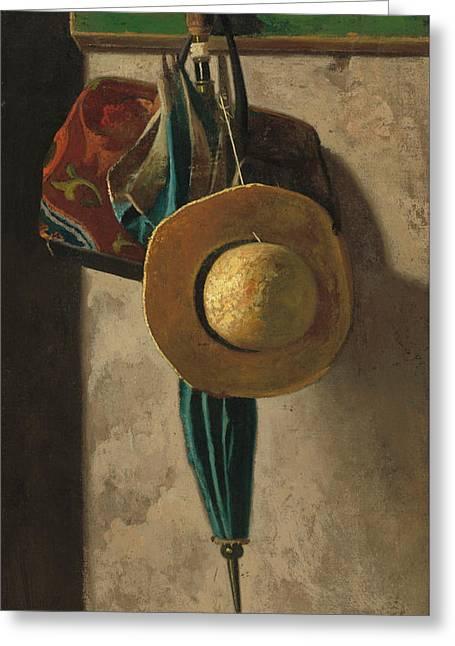 Straw Hat Bag And Umbrella Greeting Card by John Frederick Peto