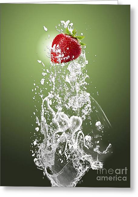 Strawberry Splash Greeting Card by Marvin Blaine