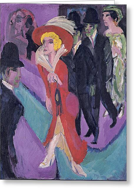 Street With Red Streetwalker Greeting Card by Ernst Ludwig Kirchner