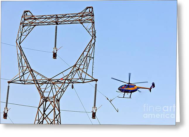 Stringing Power Cable By Helicopter Greeting Card by Inga Spence