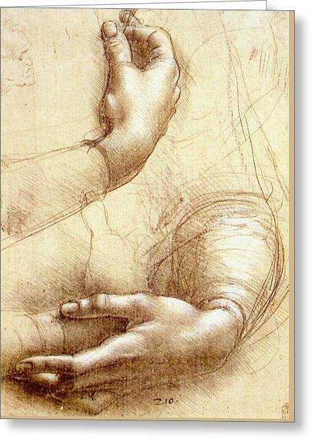 Study Of Hands Greeting Card by Leonardo da Vinci