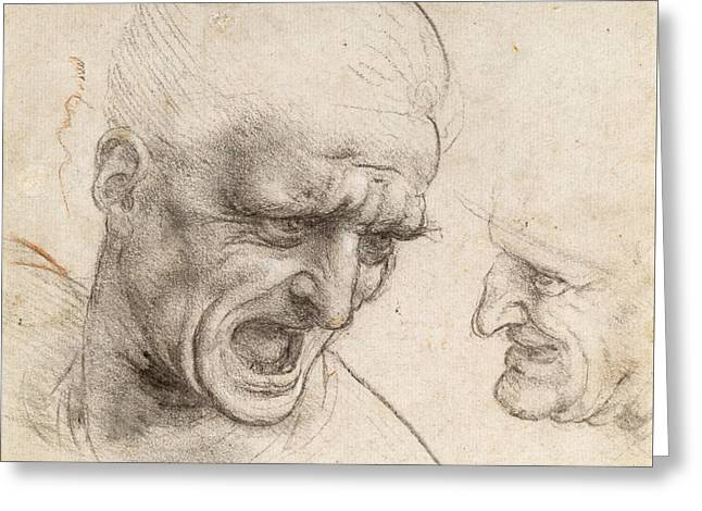 Study Of Two Warriors' Heads For The Battle Of Anghiari Greeting Card by Leonardo da Vinci