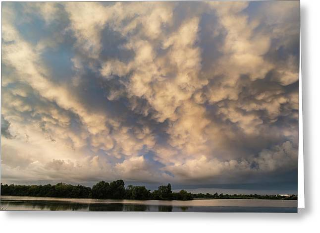 Stunning Dramatic Mammatus Clouds Formation Over Lake Landscape  Greeting Card by Matthew Gibson