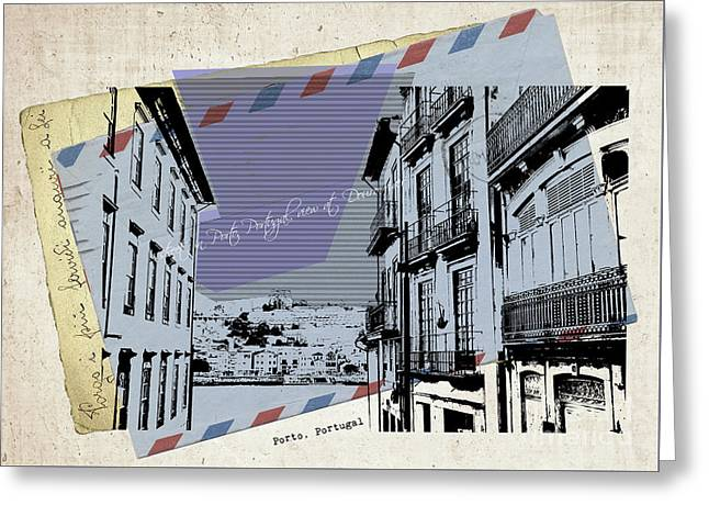 stylish retro postcard of Porto Greeting Card