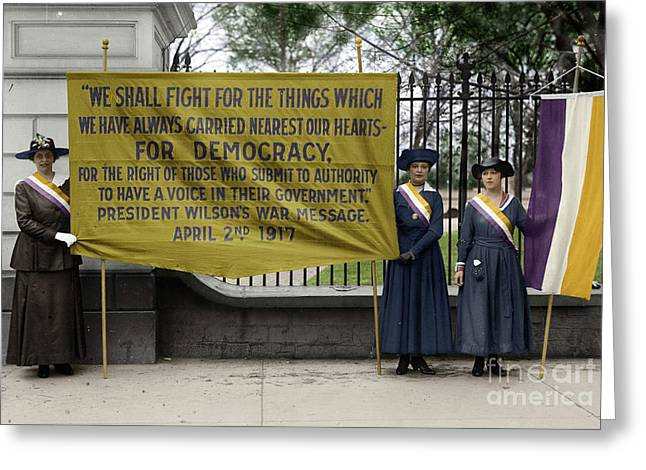 Greeting Card featuring the photograph Suffragettes, 1917 by Granger