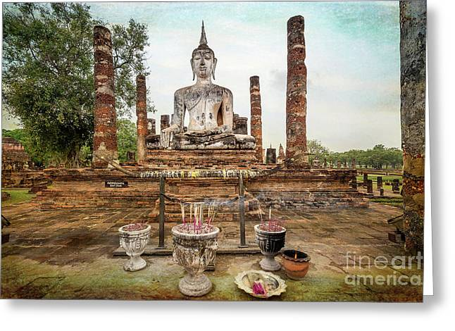 Greeting Card featuring the photograph Sukhothai Buddha by Adrian Evans