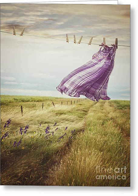 Summer Dress Blowing On Clothesline With Girl Walking Down Path Greeting Card by Sandra Cunningham