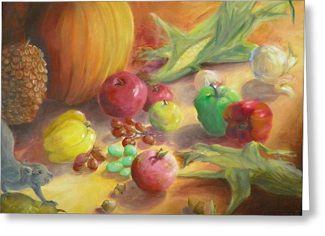 Harvest Time Paintings Greeting Cards - Sunlit Harvest Greeting Card by Sharon Casavant