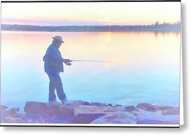 Sunrise Fisherman Greeting Card