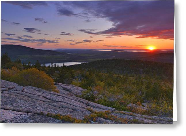Greeting Card featuring the photograph Sunrise From Cadillac Mountain by Stephen  Vecchiotti