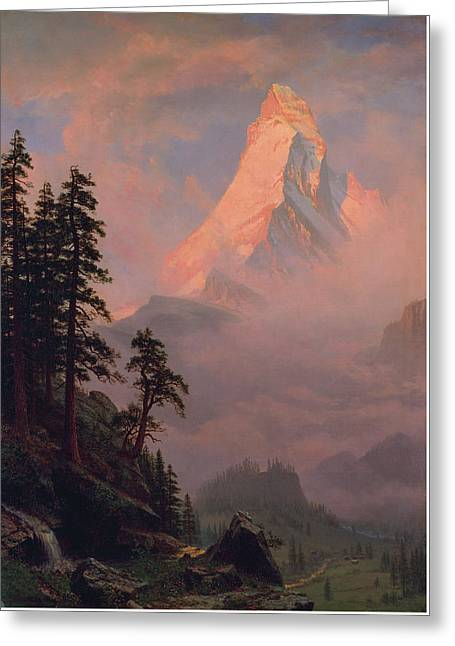Sunrise On The Matterhorn Greeting Card by Albert Bierstadt