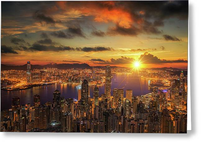 Sunrise Over Victoria Harbor As Viewed Atop Victoria Peak Greeting Card