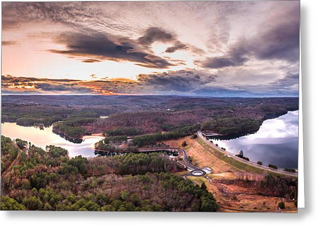 Greeting Card featuring the photograph Sunset At Saville Dam - Barkhamsted Reservoir Connecticut by Petr Hejl