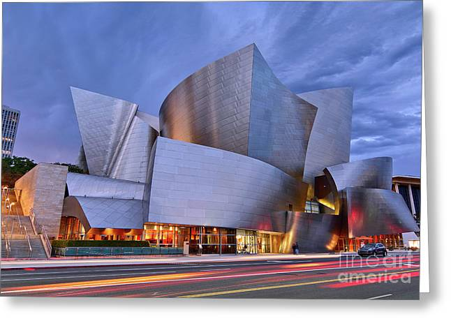 Sunset At The Walt Disney Concert Hall In Downtown Los Angeles. Greeting Card