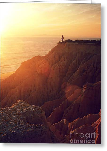 Sunset Beach Greeting Card by Carlos Caetano