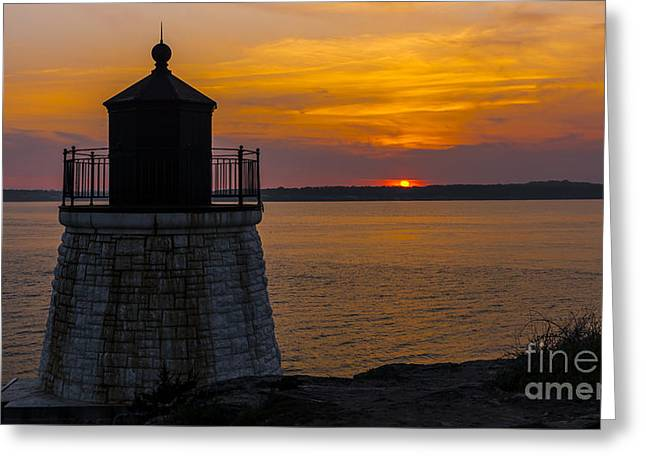 Sunset From Castle Hill Lighthouse. Greeting Card