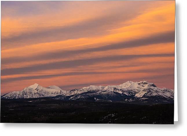 Sunset In Glacier National Park Greeting Card