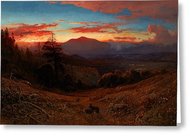Sunset On Mount Diablo Greeting Card by William Keith