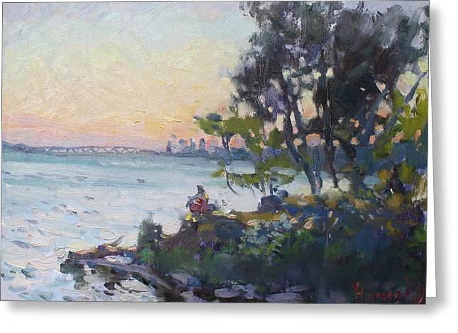 Sunset On Niagara River Greeting Card