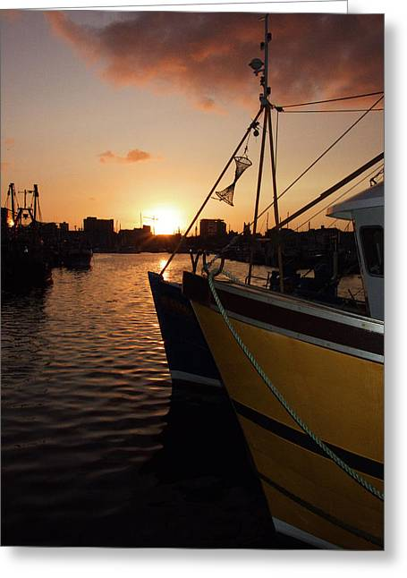 Sunset Over Sutton Harbour Plymouth Greeting Card by Chris Day