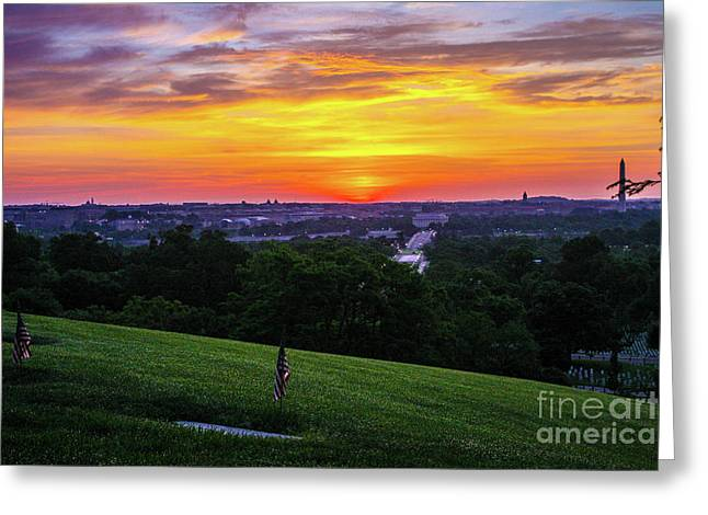 Sunset Over The United States Capitol Greeting Card
