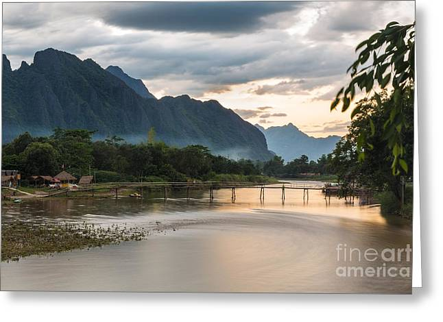 Sunset Over Vang Vieng River In Laos Greeting Card