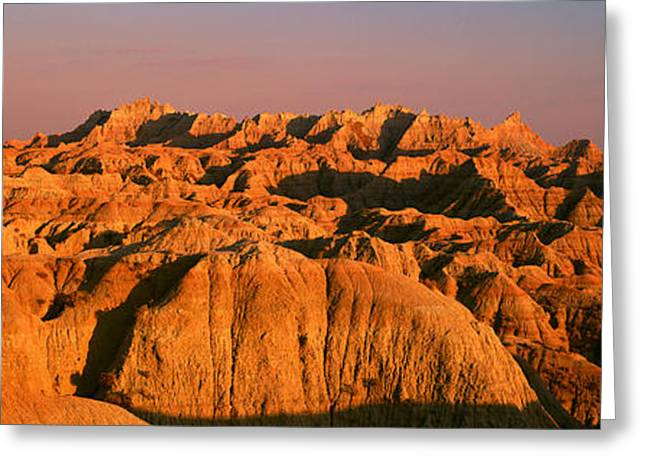 Sunset Panoramic View Of Mountains Greeting Card by Panoramic Images