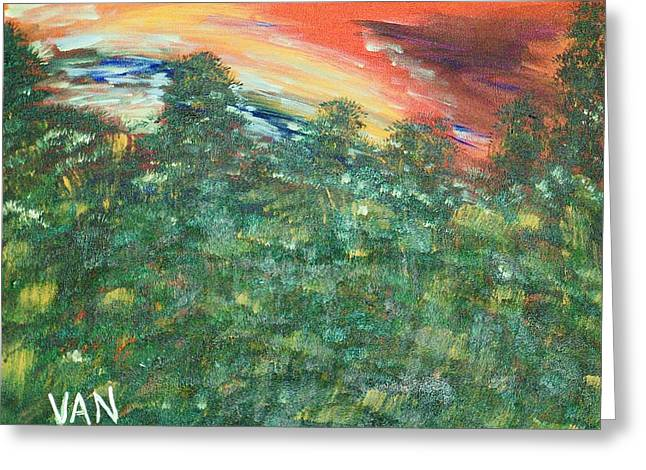 Sunset Greeting Card by Van Winslow