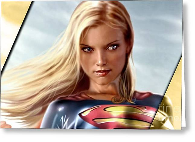 Supergirl Collection Greeting Card by Marvin Blaine
