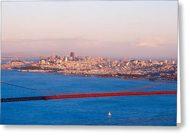 Suspension Bridge Across The Bay Greeting Card by Panoramic Images