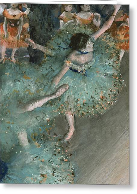 Swaying Dancer  Dancer In Green Greeting Card